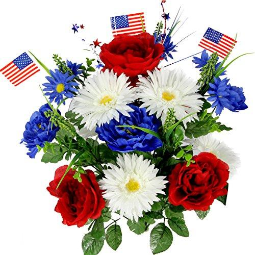 Admired By Nature Faux Peony Mixed Flowers with American Flag (Amazon / Amazon)