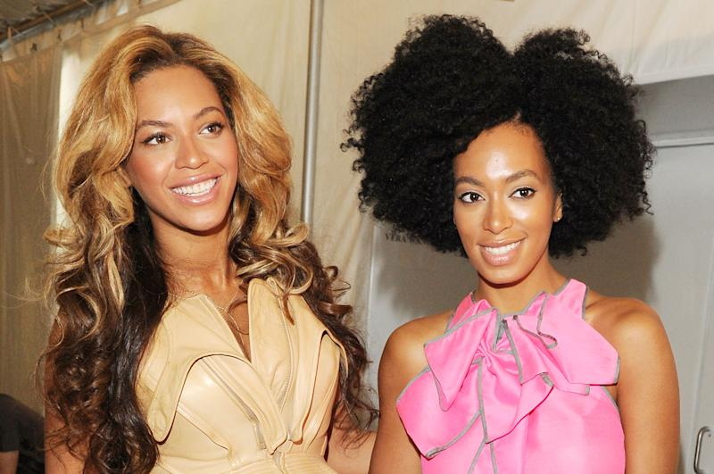 NEW YORK, NY - SEPTEMBER 13: Singers Beyonce and Solange Knowles pose backstage at the Vera Wang Spring 2012 fashion show during Mercedes-Benz Fashion Week at The Stage at Lincoln Center on September 13, 2011 in New York City. (Photo by Craig Barritt/Getty Images for Mercedes-Benz Fashion Week)