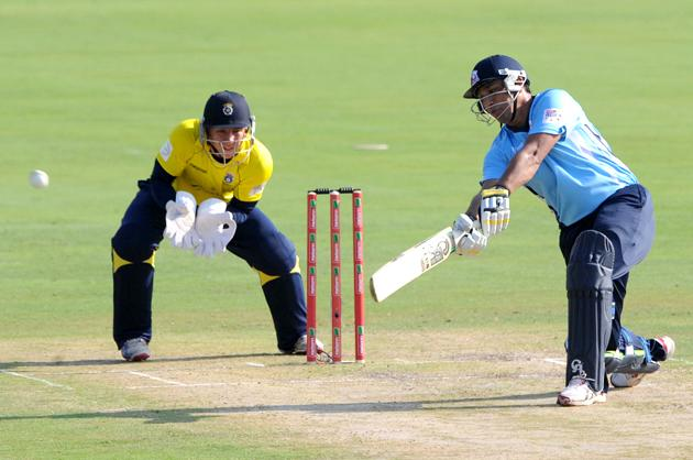 PRETORIA, SOUTH AFRICA - OCTOBER 10:  Azhar Mahmood of Auckland Aces in action during the Karbonn Smart CLT20 Champions League Twenty20 pre-tournament Qualifying Stage match between Hampshire Royals (England) and Auckland Aces (New Zealand) at SuperSport Park on October 10, 2012 in Pretoria, South Africa. (Photo by Lee Warren / Gallo Images/Getty Images)