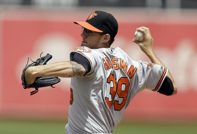 Baltimore Orioles' Kevin Gausman works against the Oakland Athletics in the first inning of a baseball game Sunday, July 20, 2014, in Oakland, Calif. (AP Photo/Ben Margot)