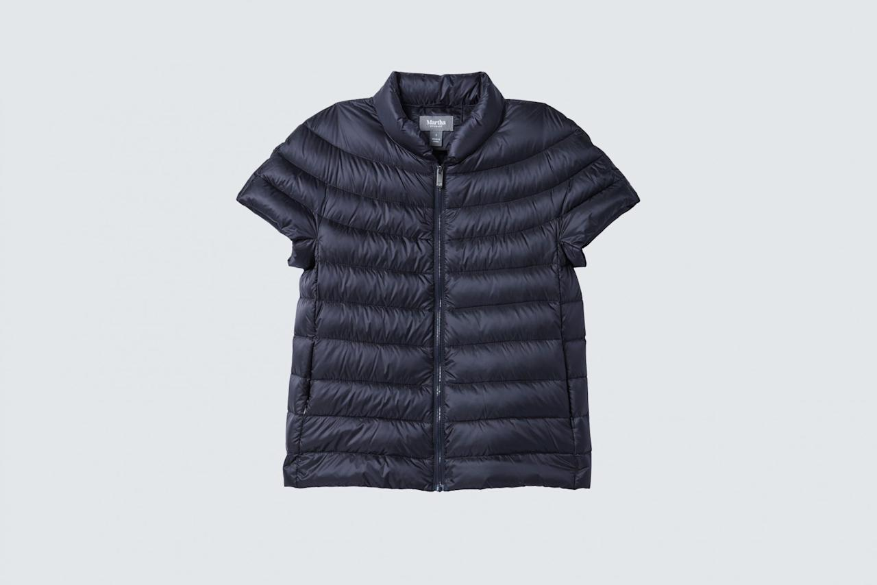 """<p>If your mom's cold-weather aesthetic is more style-on than pile-on, she&rsquo;ll love layering this short-sleeve down jacket, designed by Martha herself, over everything during the colder months.</p><p><strong><em>Shop Now: </em></strong><em>Martha Stewart Quilted Down Short Sleeve Puffer Jacket in Navy, $85, <a href=""""http://www.anrdoezrs.net/links/7799179/type/dlg/sid/MSL,YourOne-StopHolidayGiftGuide:Parents&#038;In-Laws,jkishner,Chr,Gal,1095618,201412,I/https://www.qvc.com/Martha-Stewart-Quilted-Down-Short-Sleeve-Puffer-Jacket.product.A342397.html"""" data-unprocessed-href=""""https://www.qvc.com/Martha-Stewart-Quilted-Down-Short-Sleeve-Puffer-Jacket.product.A342397.html"""" data-ecommerce=""""true"""" target=""""_blank"""" rel=""""nofollow"""" data-tracking-affiliate-name=""""www.qvc.com"""" data-tracking-affiliate-link-text=""""qvc.com"""" data-tracking-affiliate-link-url=""""https://www.qvc.com/Martha-Stewart-Quilted-Down-Short-Sleeve-Puffer-Jacket.product.A342397.html"""" data-tracking-affiliate-network-name=""""CJ Deep Link"""">qvc.com</a></em><em>.</em></p>"""
