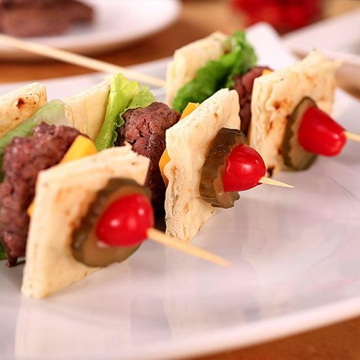 """<p> Leave the utensils inside! Food on a stick is way better, and these burger skewers are not only aesthetically pleasing but also super delicious. </p> <p><strong>Get the recipe</strong>: <a href=""""https://www.popsugar.com/food/Cobb-Salad-Skewers-Video-32128411"""" class=""""link rapid-noclick-resp"""" rel=""""nofollow noopener"""" target=""""_blank"""" data-ylk=""""slk:burger skewers"""">burger skewers</a></p>"""