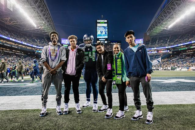 "A group from the Rainier Scholars Community Center were picked to meet <a class=""link rapid-noclick-resp"" href=""/nfl/players/25757/"" data-ylk=""slk:Bobby Wagner"">Bobby Wagner</a> and get Jordan XI Concords last week. (Photo courtesy of Jordan Brand)."
