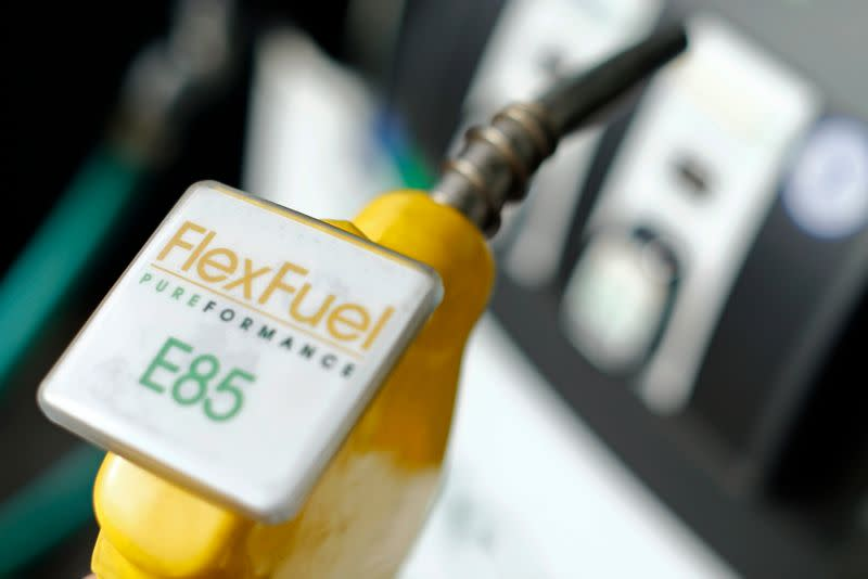The fuel nozzle from a flex fuel pump is shown in this illustration photograph at a filling station in San Diego, California