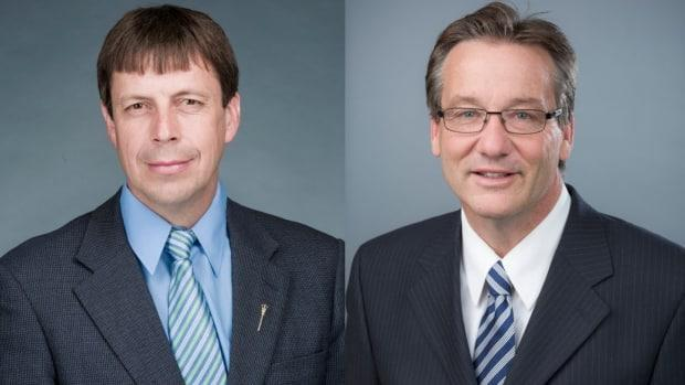 Alberta MLAs Todd Loewen, left and Drew Barnes have been expelled from the UCP caucus over allegations they divided the party and undermined government leadership. (Government of Alberta - image credit)