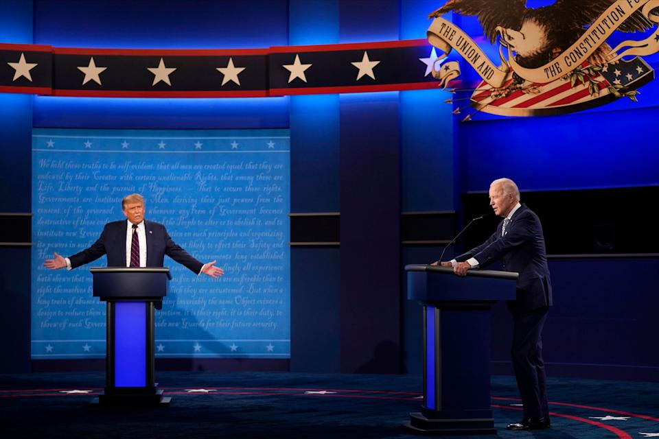 President Donald Trump and former Vice President Joe Biden at the presidential debate on Sept. 29. Trump has said he won't participate in the second debate scheduled for Oct. 15, which theCommission on Presidential Debates decided should be held remotely. (Photo: AP Photo/Julio Cortez)