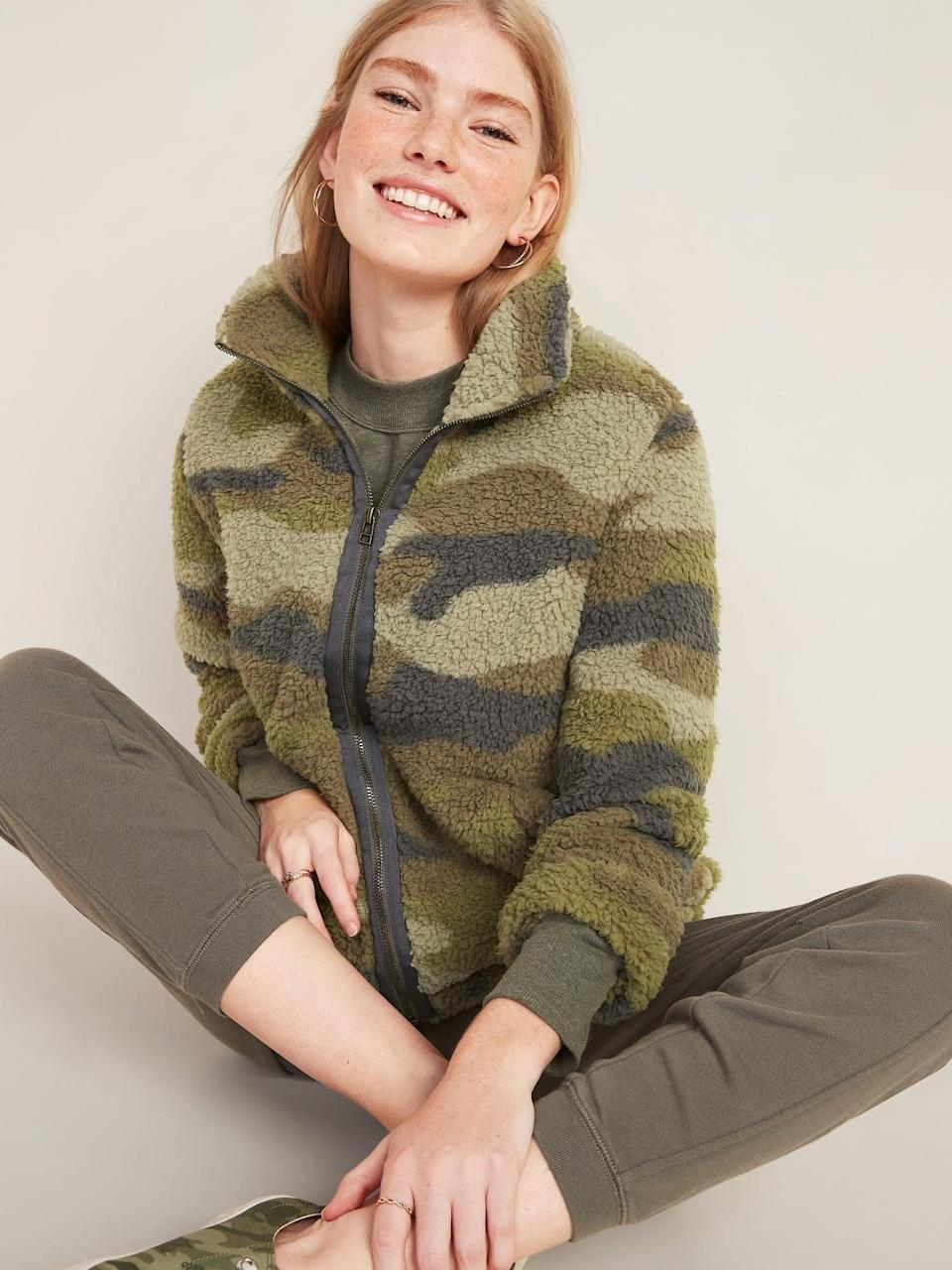 <p>We will wear this <span>Cozy Sherpa Zip-Front Jacket </span> ($20, originally $40) with light-wash denim.</p>