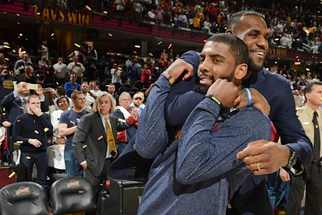 """<a class=""""link rapid-noclick-resp"""" href=""""/nba/players/4840/"""" data-ylk=""""slk:Kyrie Irving"""">Kyrie Irving</a> really, really wants <a class=""""link rapid-noclick-resp"""" href=""""/nba/players/3704/"""" data-ylk=""""slk:LeBron James"""">LeBron James</a> to stop with the """"little brother"""" stuff. (Getty)"""