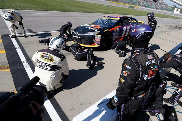 "<a class=""link rapid-noclick-resp"" href=""/nascar/sprint/drivers/1283/"" data-ylk=""slk:Denny Hamlin"">Denny Hamlin</a>'s car apparently hit something early in the race to break the splitter. (Getty)"