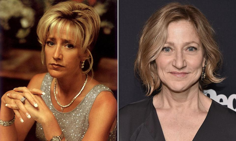 Edie Falco in <i>The Sopranos</i> and pictured in 2016.