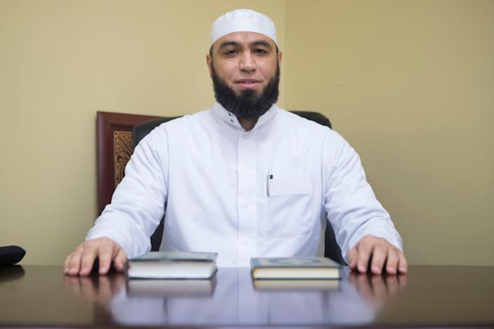 Imam Hadi Shehata sits for a portrait in his office at Masjid Ibrahim mosque Friday, April 2, 2021, in Newark, Delaware.