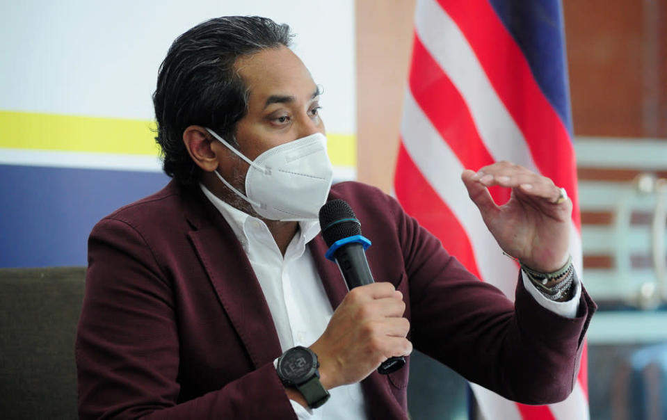 Khairy Jamaluddin speaks during a press conference after attending the Selangor state level Covid-19 Immunisation Task Force (CITF) meeting in Shah Alam, June 15, 2021. — Bernama pic