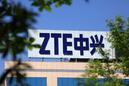 The logo of China's ZTE Corp is seen on a building in Nanjing, Jiangsu province, China April 19, 2018. Picture taken April 19, 2018. REUTERS/Stringer