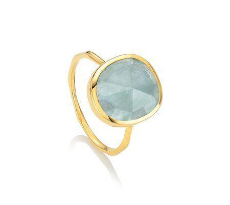 """<p><strong>Monica Vinader</strong></p><p>monicavinader.com</p><p><strong>$150.00</strong></p><p><a href=""""https://go.redirectingat.com?id=74968X1596630&url=https%3A%2F%2Fwww.monicavinader.com%2Fus%2Fsiren-medium-stacking-ring%2Fgold-vermeil-siren-medium-stacking-ring-aquamarine&sref=https%3A%2F%2Fwww.redbookmag.com%2Ffashion%2Fg34824874%2Fbest-jewelry-gift-ideas%2F"""" rel=""""nofollow noopener"""" target=""""_blank"""" data-ylk=""""slk:Shop Now"""" class=""""link rapid-noclick-resp"""">Shop Now</a></p><p>Colorful cabochon-cut rings are a sweet gift with mileage: you can give these two or three times so that the wearer can mix and stack them.</p>"""