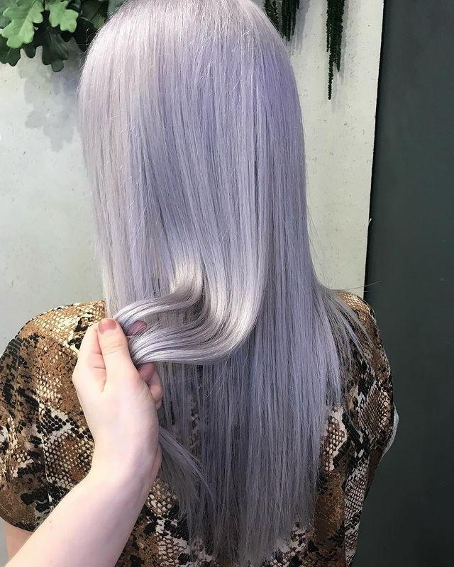 """<p>A hair colour this light is best left to the professionals. Ask for a full head of bleach and lilac toner. </p><p><a href=""""https://www.instagram.com/p/BuE8ZM9lb5Y/"""" rel=""""nofollow noopener"""" target=""""_blank"""" data-ylk=""""slk:See the original post on Instagram"""" class=""""link rapid-noclick-resp"""">See the original post on Instagram</a></p>"""