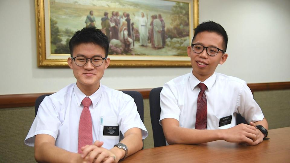 Elder Wendell Loh, 21, (left) is preparing to serve as a full-time missionary in Lyon, France for the next two years. Elder Thaddeus Ng, 22, has been serving in Singapore and West Malaysia for the past 19 months.
