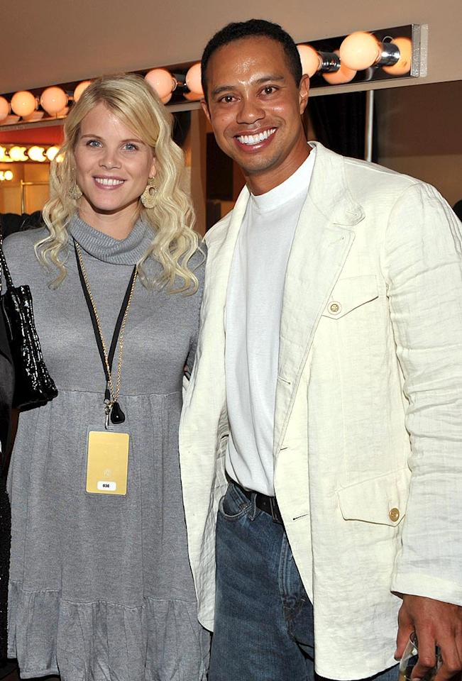 """Although Tiger Woods' marriage to Elin Nordegren is on the rocks, the couple was happy as can be when Charlie Axel arrived on February 8. They also have a daughter named Sam Alexis. Lester Cohen/<a href=""""http://www.wireimage.com"""" target=""""new"""">WireImage.com</a> - October 11, 2008"""