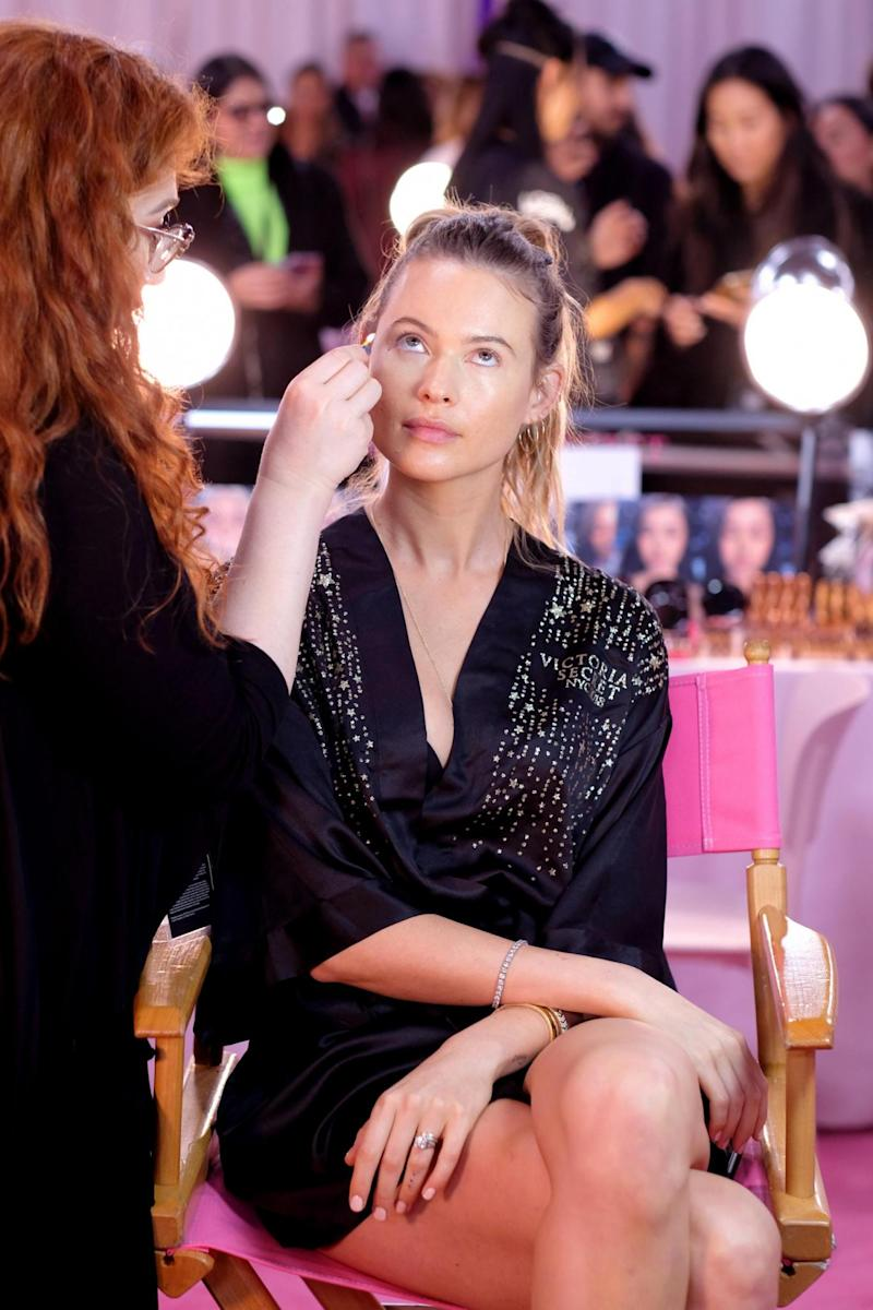 Behati Prinsloo prepares for the 2018 Victoria's Secret show (Getty Images for Victoria's Secr)