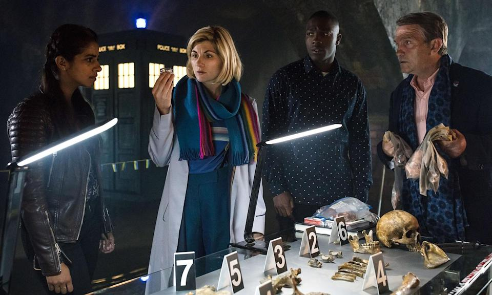 """<p>Peter Capaldi's regeneration into Jodie Whittaker sparked headlines, but the new Doctor, complete with trouser braces, has <a href=""""https://uk.movies.yahoo.com/doctor-series-11-recap-jodie-whittakers-first-season-reviewed-rated-193539537.html"""" data-ylk=""""slk:injected quirk and verve;outcm:mb_qualified_link;_E:mb_qualified_link;ct:story;"""" class=""""link rapid-noclick-resp yahoo-link"""">injected quirk and verve</a> into the 55-year-old character.<br>Photo: BBC </p>"""
