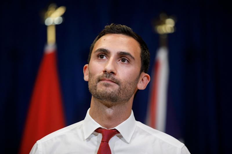 Ontario Minister of Education Stephen Lecce speaks at a press conference in Toronto on Oct. 6, 2019. (Photo: Cole Burston/Canadian Press)