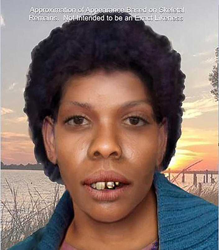 This undated rendering provided by the Jackson County Sheriff's Department in Pascagoula, Miss., shows a computer-generated composite based on unidentified skeletal remains that depicts what the woman may have looked like. On Tuesday, Sept. 21, 2021, authorities said that they have now identified the skeletal remains of the woman found nearly 44 years earlier as Clara Birdlong and investigators believe she was a victim of the now-deceased Samuel Little, the most prolific serial killer in U.S. history. (Amy Dobbs/Jackson County Sheriff's Department via AP)