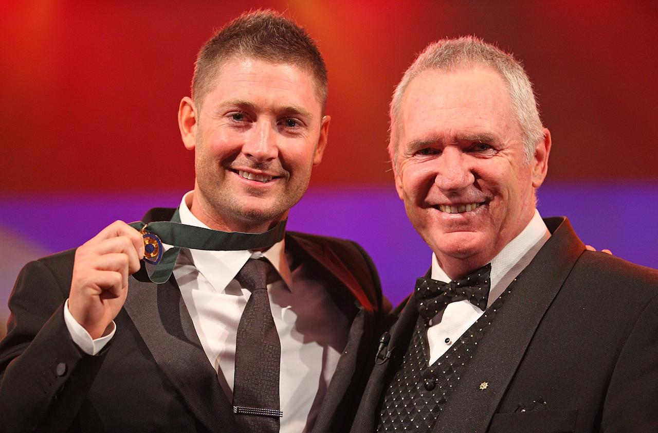 MELBOURNE, AUSTRALIA - FEBRUARY 27:  Michael Clarke (L) of Australia poses with Allan Border after winning the Allan Border Medal during the 2012 Allan Border Medal Awards at Crown Palladium on February 27, 2012 in Melbourne, Australia.  (Photo by Scott Barbour/Getty Images)