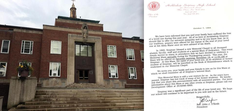 """<div class=""""inline-image__caption""""><p>Left: The Stepinac front steps. Right: The condolence letter sent to the author by Stepinac President, John J. O'Keefe, who would later be convicted of child abuse and defrocked.</p></div> <div class=""""inline-image__credit"""">Courtesy Jenny Grosvenor</div>"""
