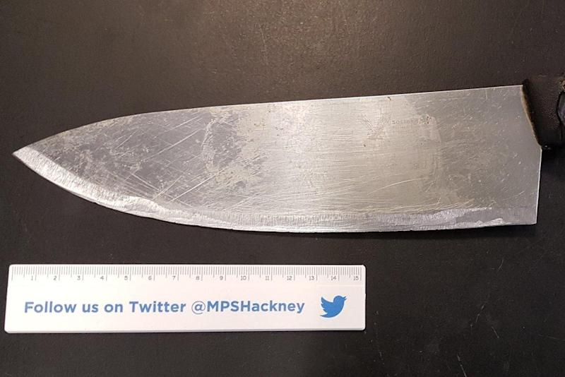 Seized: A man grabbed a meat cleaver from a shop before chasing another man in the market: @MPSHackney