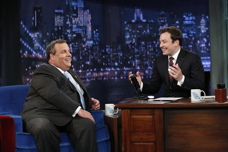 "This June 12, 2013 photo released by NBC shows host Jimmy Fallon, right, and New Jersey Gov. Chris Chistie during a taping of ""Late Night with Jimmy Fallon,"" in New York. (AP Photo/NBC, Lloyd Bishop)"