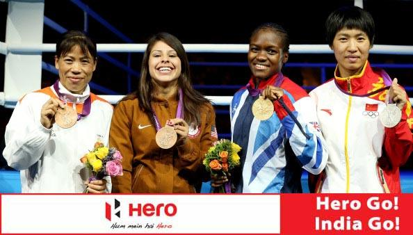LONDON, ENGLAND - AUGUST 09:  Silver medalist Cancan Ren (R) of China, gold medalist Nicola Adams (2nd R) of Great Britain, bronze medalist Chungneijang Mery Kom Hmangte (L) of India and bronze medalist Marlen Esparza (2nd L) of the United States pose during the medal ceremony for the Women's Fly (51kg) Boxing final bout on Day 13 of the London 2012 Olympic Games at ExCeL on August 9, 2012 in London, England.  (Photo by Scott Heavey/Getty Images)