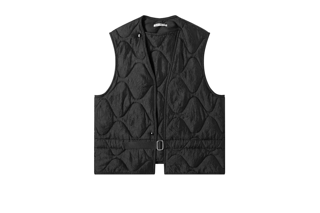 """$365, End Clothing. <a href=""""https://www.endclothing.com/us/our-legacy-langoustine-vest-m4191lc.html"""">Get it now!</a>"""