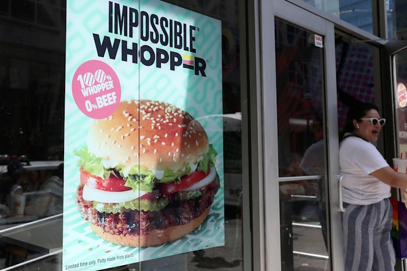 A sign advertising the soy based Impossible Whopper is seen outside a Burger King in New York, U.S., August 8, 2019. REUTERS/Shannon Stapleton