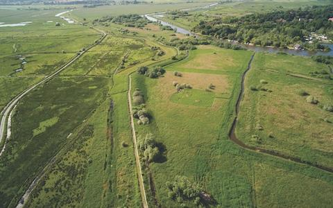 A view over Carlton Marshes, with new land to the bottom right and upper left - Credit: Suffolk Wildlife Trust