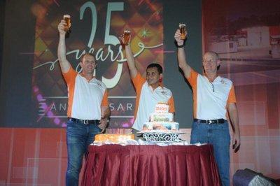 From left to right: James Naylor - Executive GM - West; Agung Wastuadji - CFO, Stuart Wesley Brown - President Director; at the Coates Indonesia's 25th Anniversary Party