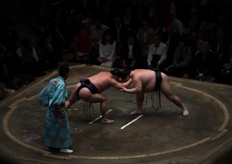 The Japanese Sumo Association announced its first COVID-19 death on Wednesday, the 28-year-old fighter Shobushi. (Photo by Eric Lafforgue/Art in All of Us/Corbis via Getty Images)