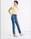"""<p><strong>Madewell</strong></p><p>madewell.com</p><p><a href=""""https://go.redirectingat.com?id=74968X1596630&url=https%3A%2F%2Fwww.madewell.com%2Frivet-amp%253B-thread-high-rise-stovepipe-jeans-in-kingman-wash-AK801.html&sref=https%3A%2F%2Fwww.cosmopolitan.com%2Fstyle-beauty%2Ffashion%2Fg34276815%2Fmadewell-jeans-sale-october-2020%2F"""" rel=""""nofollow noopener"""" target=""""_blank"""" data-ylk=""""slk:SHOP NOW"""" class=""""link rapid-noclick-resp"""">SHOP NOW</a></p><p><strong><del>$198</del> <del>$170</del> $119 (extra 30%)</strong></p><p>Madewell describes the fit of these high-rise beauties as having a touch of stretch and """"walking the line between a slim and straight leg."""" If you don't like washing your denim, these are for you as they won't stretch much with wear. </p>"""
