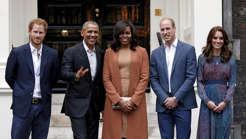 The Obamas with Prince Harry, left, and Prince William and his wife, Cathethe Duchess of Cambridge, on April 22, 2016. (Kevin Lamarque / Reuters)