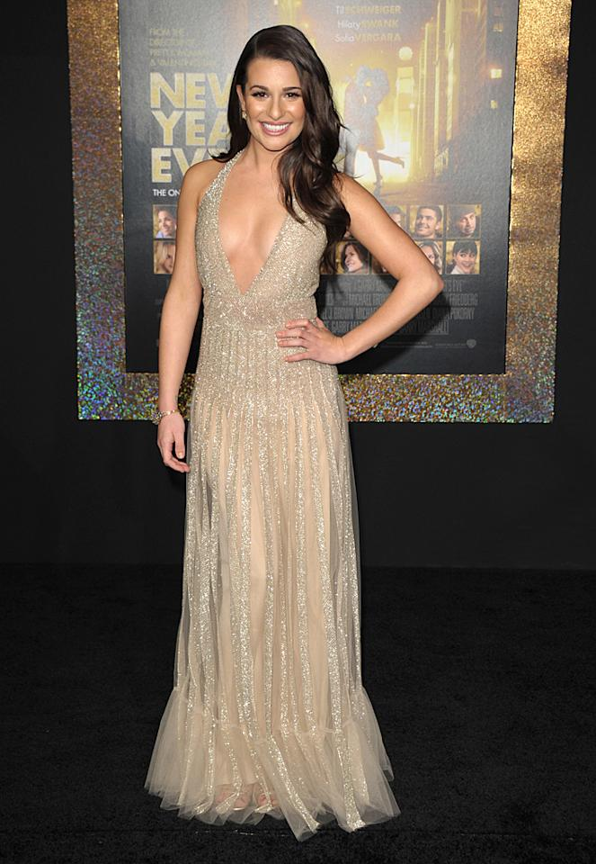 """Glee"" gal Lea Michele showed off her figure in a low-cut va-va-voom Valentino gown when she walked the red carpet at the premiere of ""New Year's Eve."" (12/05/2011)"