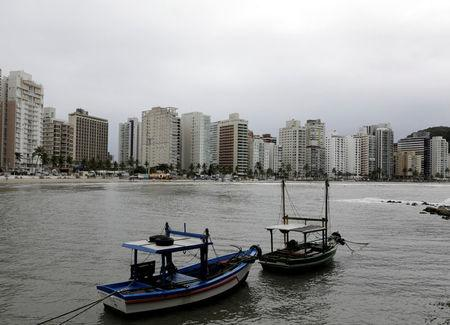 """A view of residential buildings at Asturias Beach, with the """"Solaris"""" apartment (L) in Guaruja, Brazil April 16, 2018. REUTERS/Paulo Whitaker"""