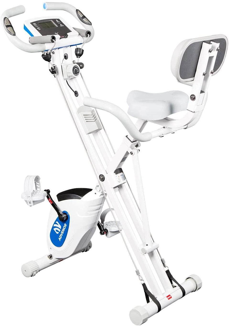 "<h2>20% Off ADVENOR Folding Stationary Exercise Bike</h2><br>This nifty folding exercise bike is the small-space and budget-friendly answer to the pricier at-home fitness options out there — and it's currently available for even more of a steal on Cyber Monday. One reviewer out of over 700 calls it the ""Best workout I've had!""; another states, ""This bike is sturdy, supports up to 300 lbs and is built very well and easy to put together. Unfortunately, since the bike folds for storage or to be moved around, the crossbars are about 18-20 inches high. If you have limitations or arthritis you will not be able to get on the bike, if you cannot lift your legs real high. I was so disappointed in myself for not seeing this until it was being put together. This is a superb quality bike for a great price!""<br><br><strong>ADVENOR</strong> Folding Magnetic Stationary Exercise Bike, $, available at <a href=""https://amzn.to/3og7caZ"" rel=""nofollow noopener"" target=""_blank"" data-ylk=""slk:Amazon"" class=""link rapid-noclick-resp"">Amazon</a>"