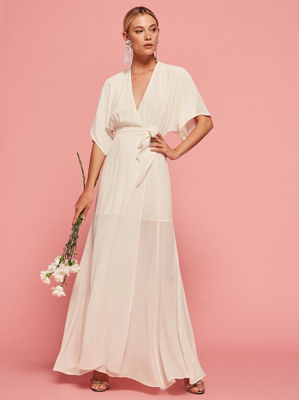 "<p>The Winslow Dress, $268, <a href=""https://www.thereformation.com/products/winslow-dress-ivory"" rel=""nofollow noopener"" target=""_blank"" data-ylk=""slk:thereformation.com"" class=""link rapid-noclick-resp"">thereformation.com</a> </p>"