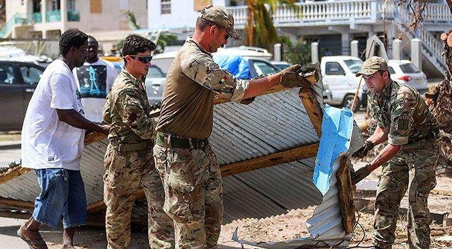 The military clear debris in Tortola. Source: AAP