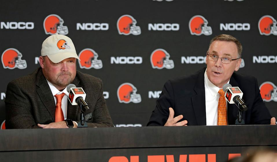 Cleveland Browns general manager John Dorsey, right, speaks while new NFL football head coach Freddie Kitchens listens during a news conference, Monday, Jan. 14, 2019, in Cleveland.  (AP Photo/Tony Dejak)