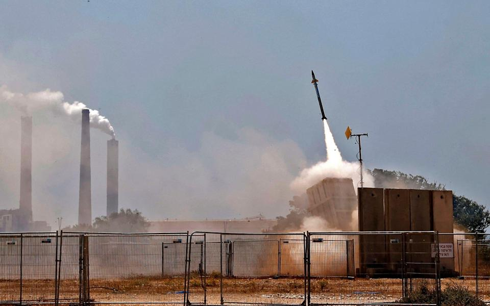 Israel's Iron Dome aerial defence system intercepts rockets launched from the Gaza Strip