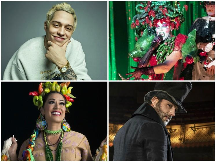 Clockwise from top left: Pete Davidson (Peggy Sirota); Taylor Mac (Gina Ferazzi/Los Angeles Times); Andrew Lincoln in A Christmas Carol (Helen Maybanks); Lila Downs (Marcela Taboada)
