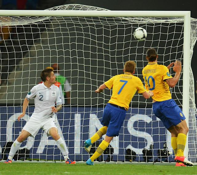 KIEV, UKRAINE - JUNE 19: Sebastian Larsson of Sweden scores his teams second goal during the UEFA EURO 2012 group D match between Sweden and France at The Olympic Stadium on June 19, 2012 in Kiev, Ukraine. (Photo by Lars Baron/Getty Images)