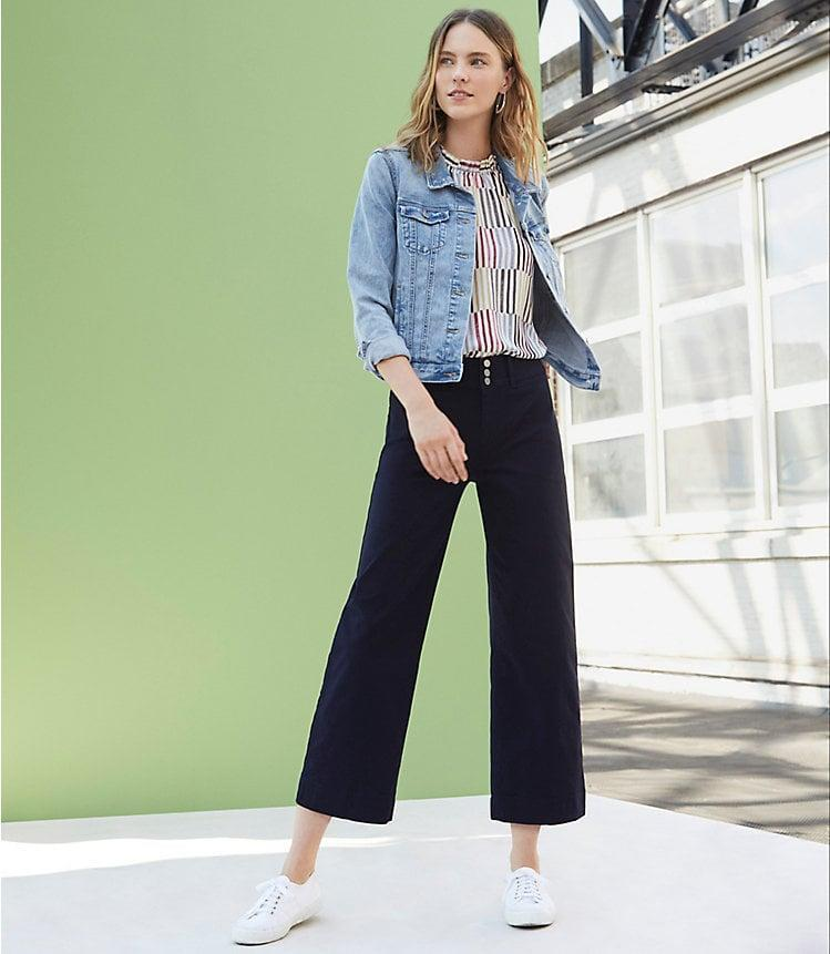 <p>These <span>Loft Button Front High Waist Wide Leg Crop Pants</span> ($80) are so flattering.</p>