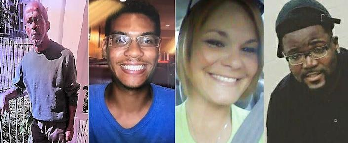 Authorities believe the same person is responsible for the shooting deaths of (left to right) Ronald Felton, Anthony Naiboa, Monica Caridad Hoffa and Benjamin Edward Mitchell. (Photo: Handout/TAMPA BAY CRIME STOPPERS)