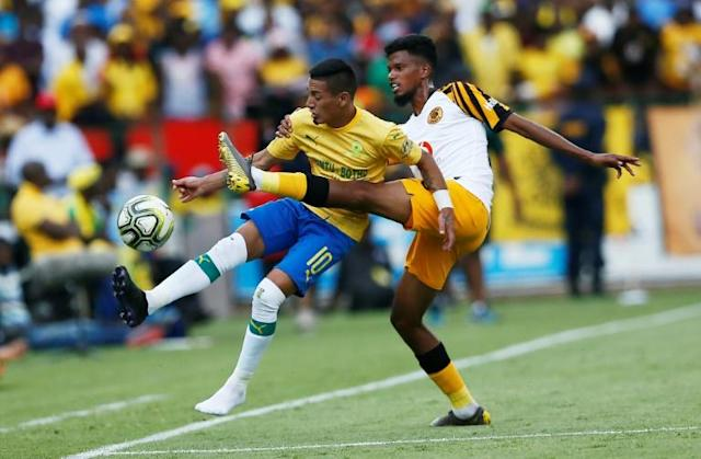 Mamelodi Sundowns midfielder Gaston Sirino (L), who scored and was sent off Saturday as his club reached the South African League Cup final (AFP Photo/Phill Magakoe)