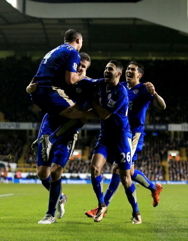 Matchwinner Robert Huth (second left) is mobbed by team-mates after scoring the only goal in the win at Spurs (PA)